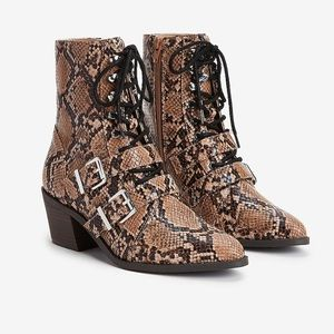 EXPRESS - NWOT snake print western lace up booties